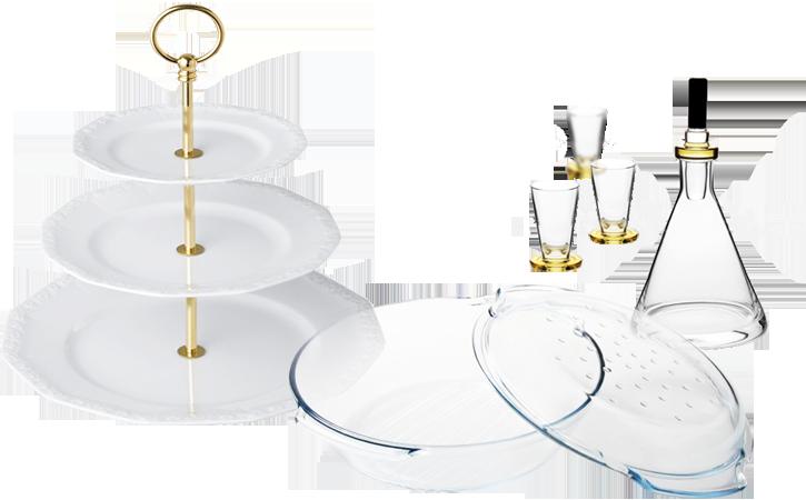 Patera Rosenthal, karafka i zestaw kieliszków Krosno, naczynie żaroodporne Termisil